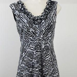 Robbie Bee Dress size 6 Black Stripe Sleeveless